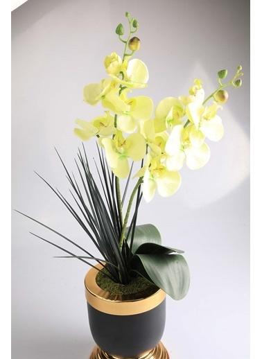 Kibrithane Çiçek Yapay Çiçek Metal Saksı Yeşil Kumaş Orkide Kc00200802 Renkli